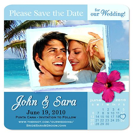 Tropical Photo Square Save The Date Magnet