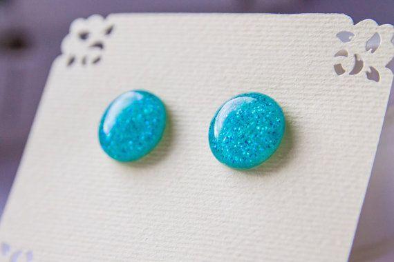 Ocean blue glitter post earrings light blue studs от JewelryBest