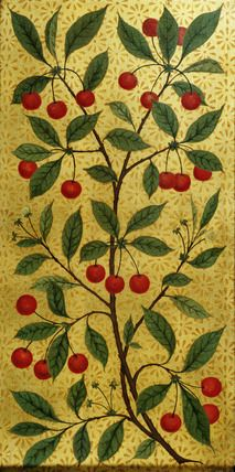 Cherries on a pane by Morris & Co., designed by Philip Webb. London, UK, 1866-68.