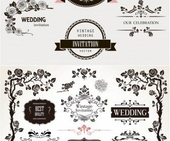 Set of vector decorative ornate wedding frames dividers vintage set of vector decorative ornate wedding frames dividers vintage and classic borders for your wedding invitation card embellishments save the date designs stopboris Choice Image