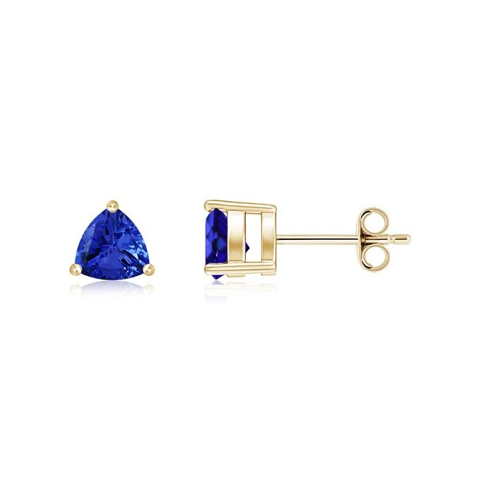 Angara 4 Prong Set Blue Sapphire Stud Earrings in 14K Rose Gold dBHDRpX