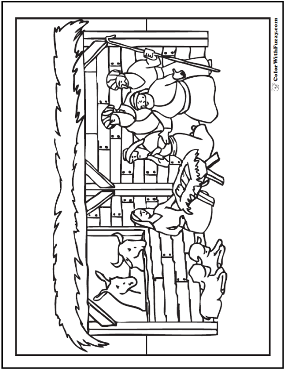 Christmas Nativity Coloring Page Stable Scene Nativity Coloring Nativity Coloring Pages Super Coloring Pages