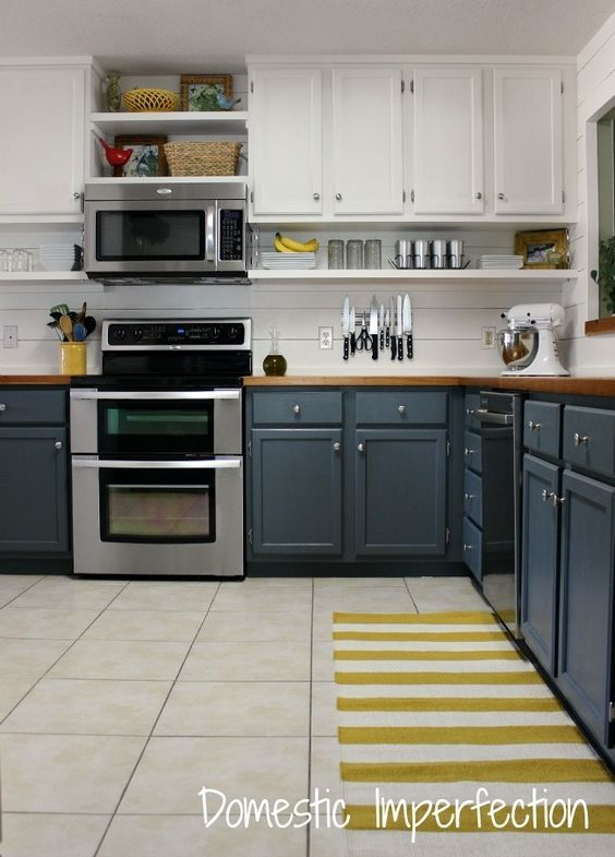 Best White And Blue Wood Two Toned Kitchen Cabinets Feat Silver 400 x 300
