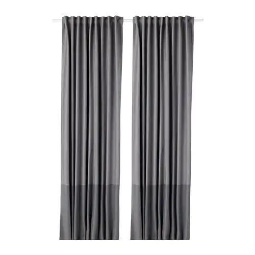Marjun Blackout Curtains 1 Pair Gray 57x98 Ikea In 2020 Curtains With Blinds Block Out Curtains Blackout Curtains