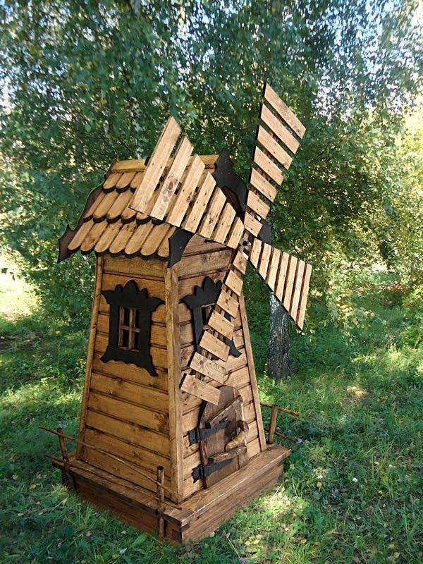 Деревянная мельница в саду своими руками 199