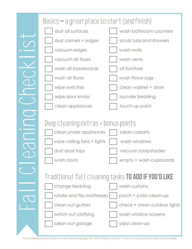 Fall Cleaning Checklist  Courtesy Of Clean MamaPdf  Google