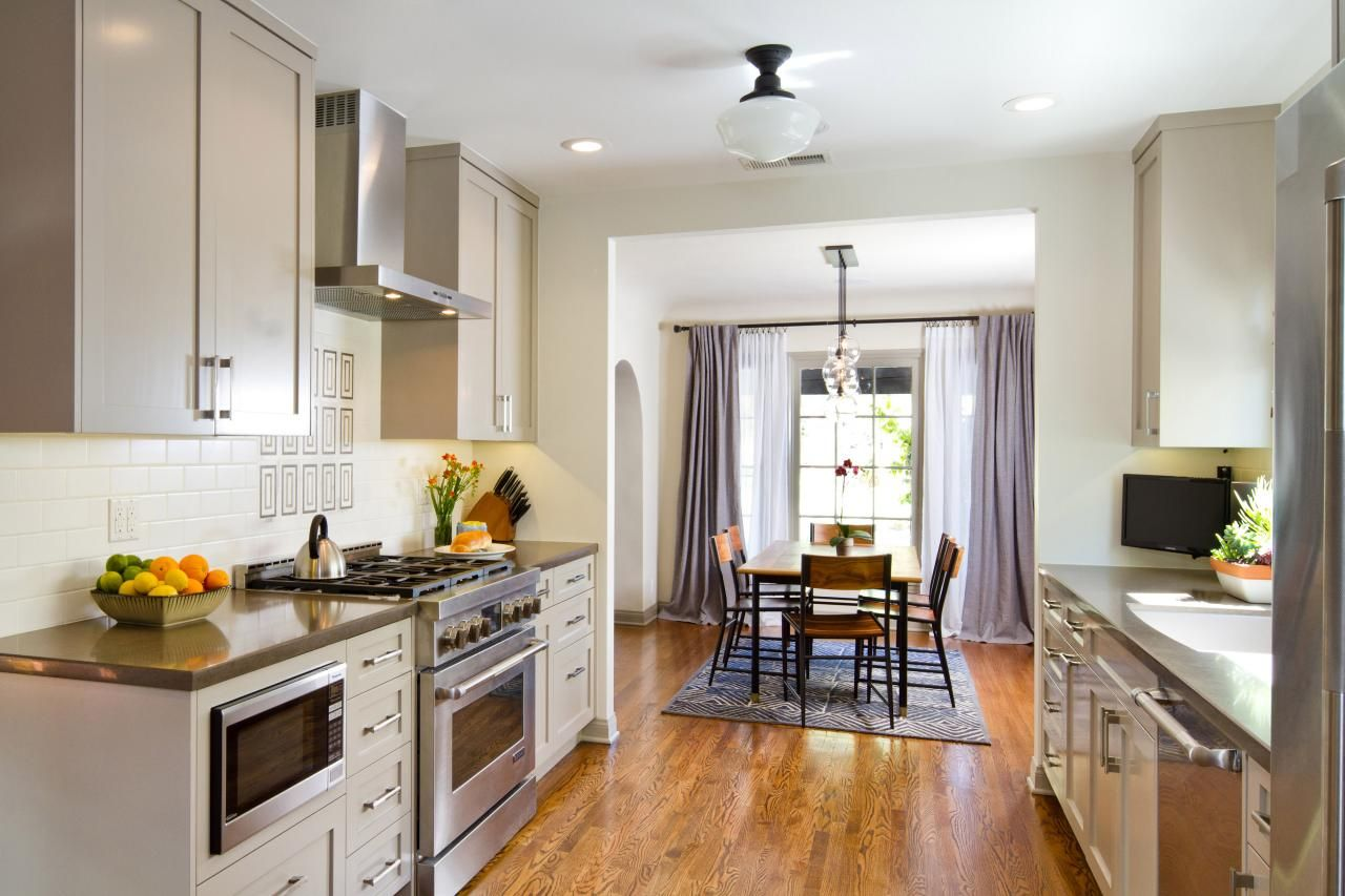 Transitional Open Plan Kitchen And Dining Room Galley Style Kitchen Kitchen Remodel Cost Galley Kitchen Design