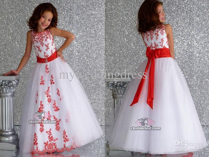 Wholesale White Organza Red Applique Ball Gown Flower Girl Dresses ...