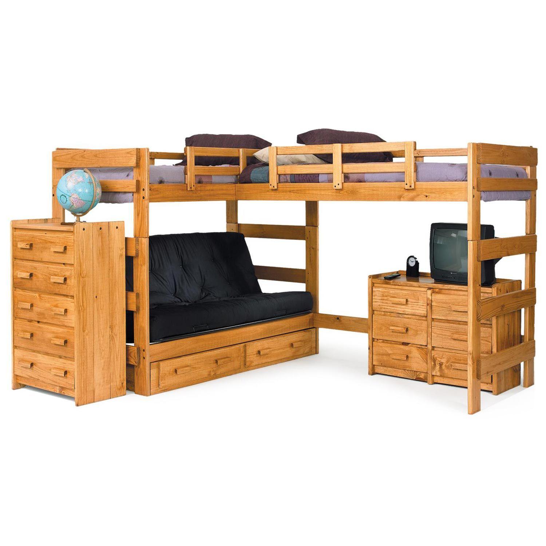 L Shaped Loft Bed Over Futon Under Storage Honey