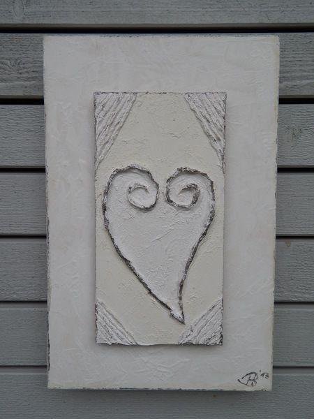Acrylbild Herz Weiss Grau Mit Struktur Von Lamemo Auf Dawanda