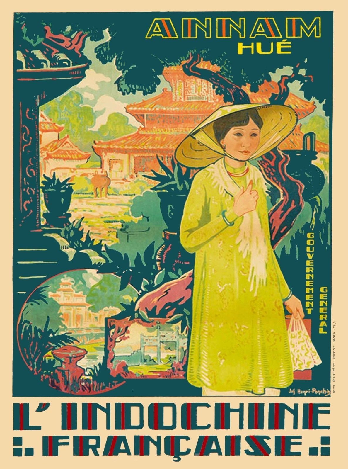 Laos Indochina Classic Reproduction Vintage Travel Poster 1930/'s