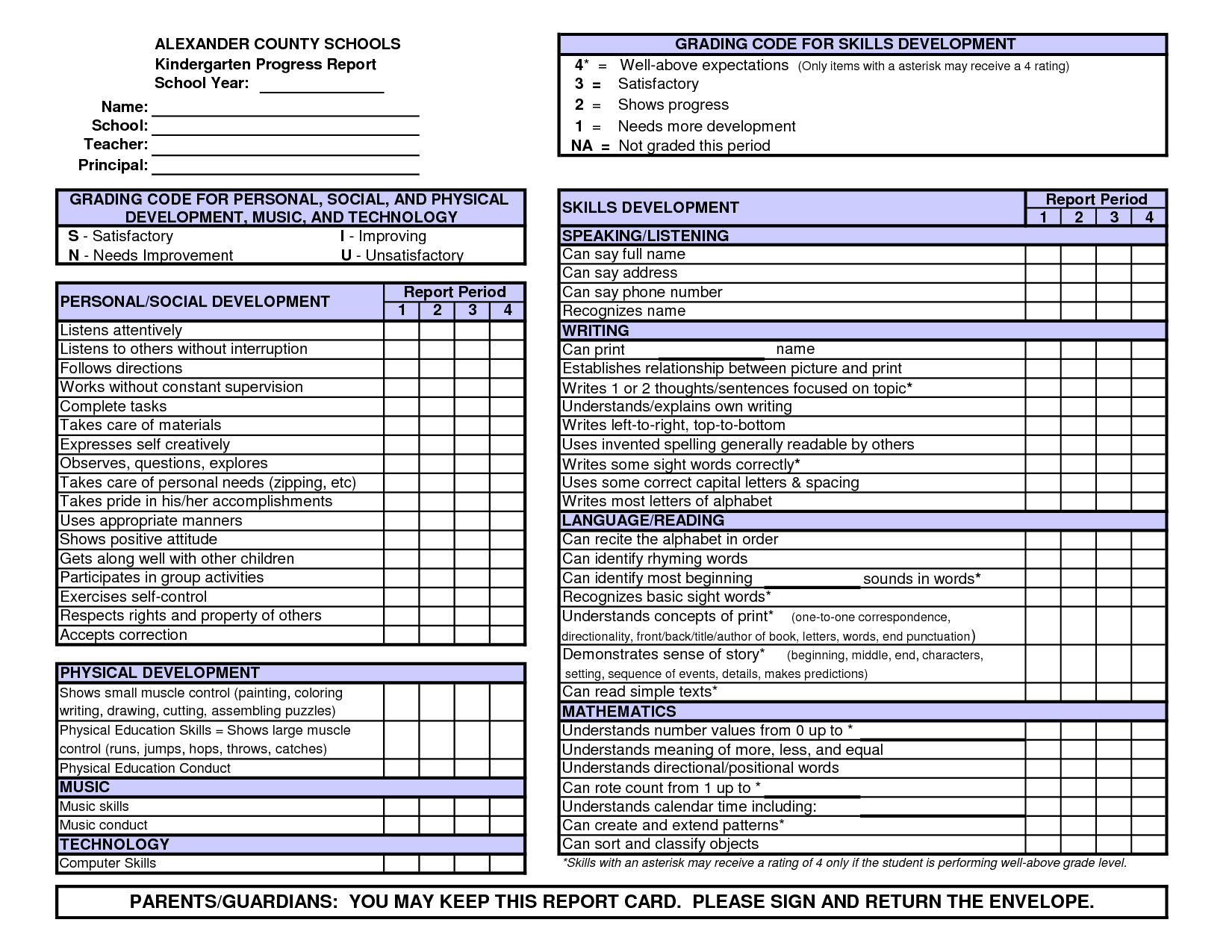 kindergarten report card template free preschool conference report