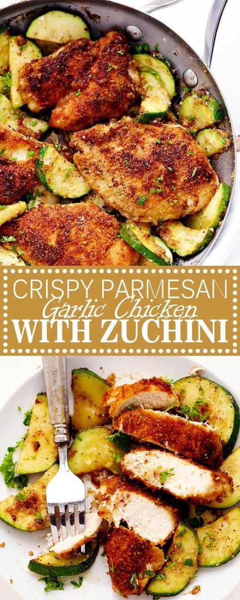 CRISPY PARMESAN GARLIC CHICKEN WITH ZUCCHINI #onepandinnerschicken
