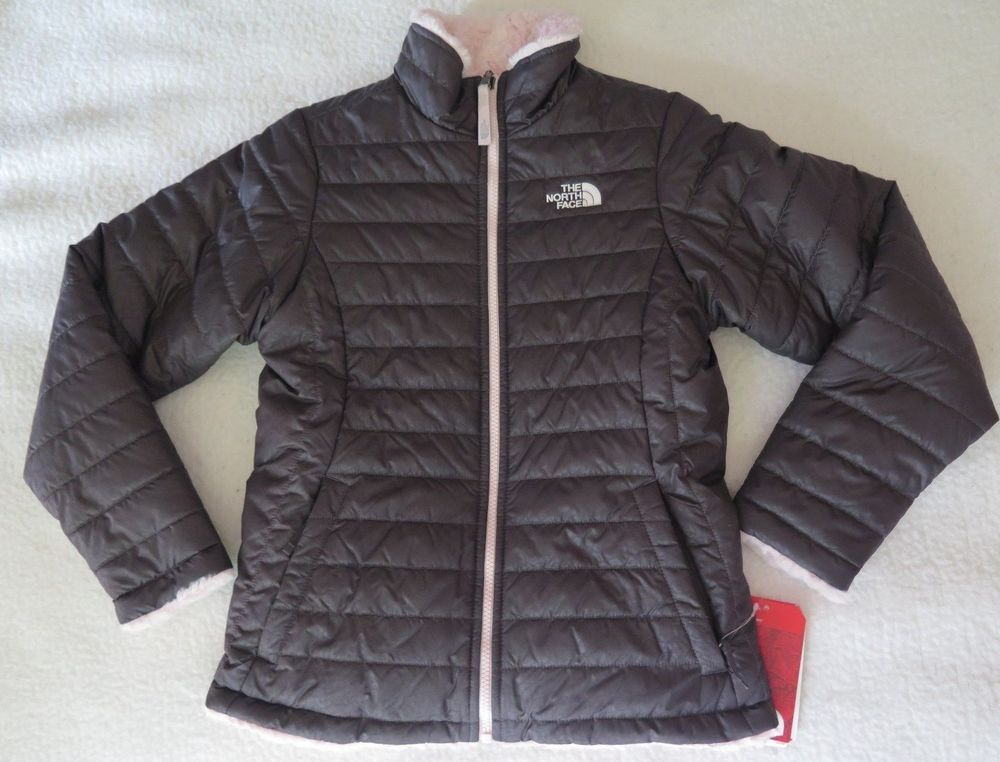 519eb9de7 The North Face Girls' Reversible Mossbud Swirl Insulated Grey Jacket ...