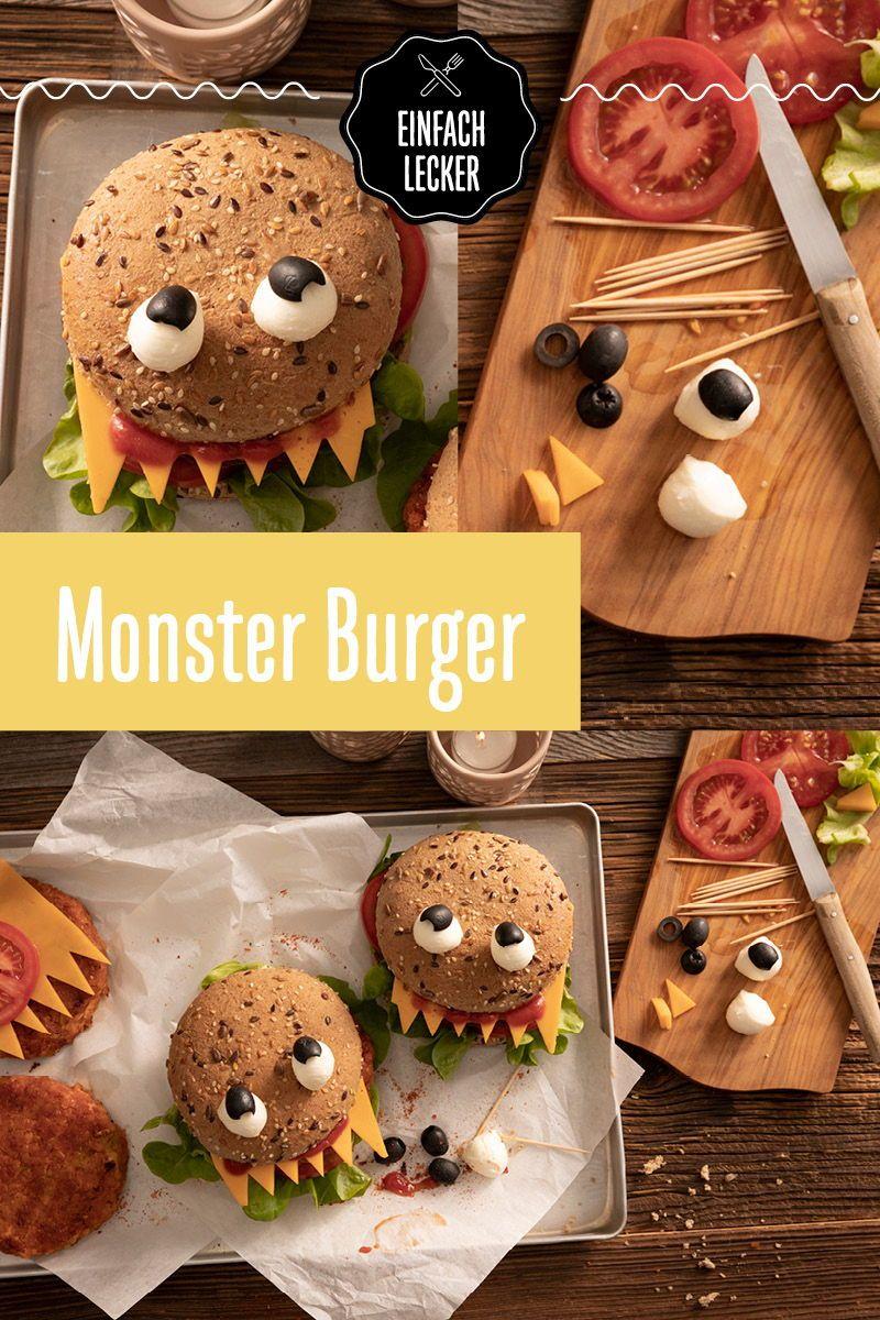 Monster Burger Rezept Halloween Essen Rezepte Einfach Lecker Burger Essen