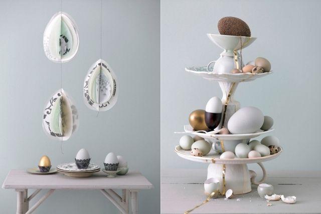 Basteln Mit Tassen osterdeko selbermachen etagere teller tassen papier eier frühling