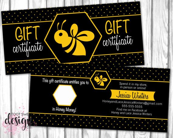 honey and lace gift certificate honey money dollar buck coupon cash