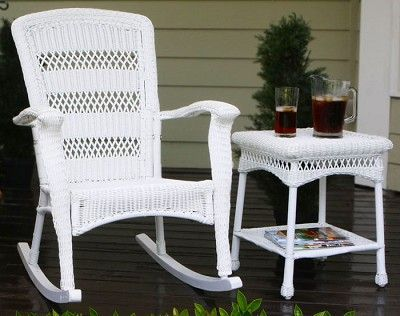 plantation coastal white wicker outdoor rocking chair deck