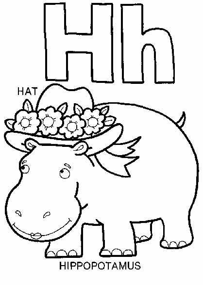 Letter H Coloring Page Hippo Hat Coloring Book Pages Alphabet