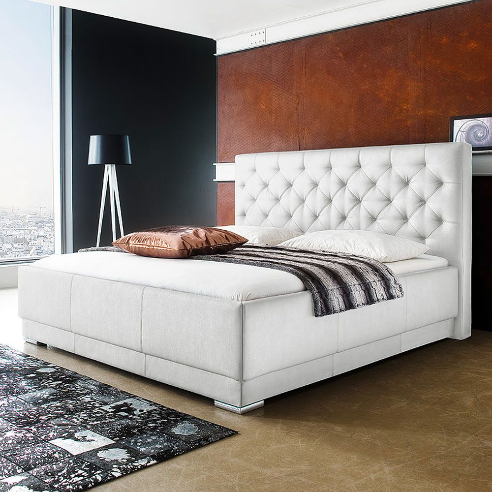 polsterbett pisa doppelbett bettgestell bett wei inkl. Black Bedroom Furniture Sets. Home Design Ideas