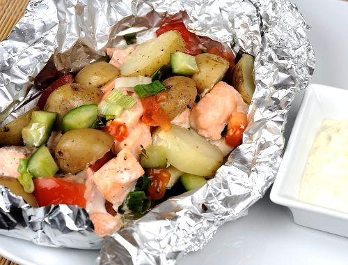 lax i foliepaket med potatis