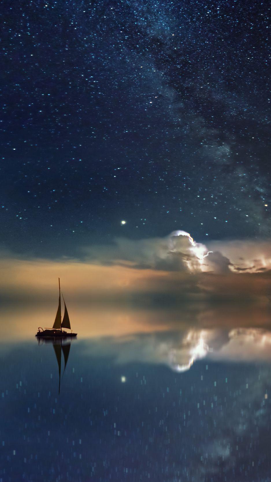 Starry Sky Boat Reflection Sail Night Wallpaper In 2020 Nature Wallpaper Infinity Wallpaper Starry Sky