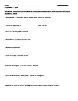 The Kite Runner Reading Quizzes And Answer Keys Quizzes And Answers Reading Quizzes The Kite Runner