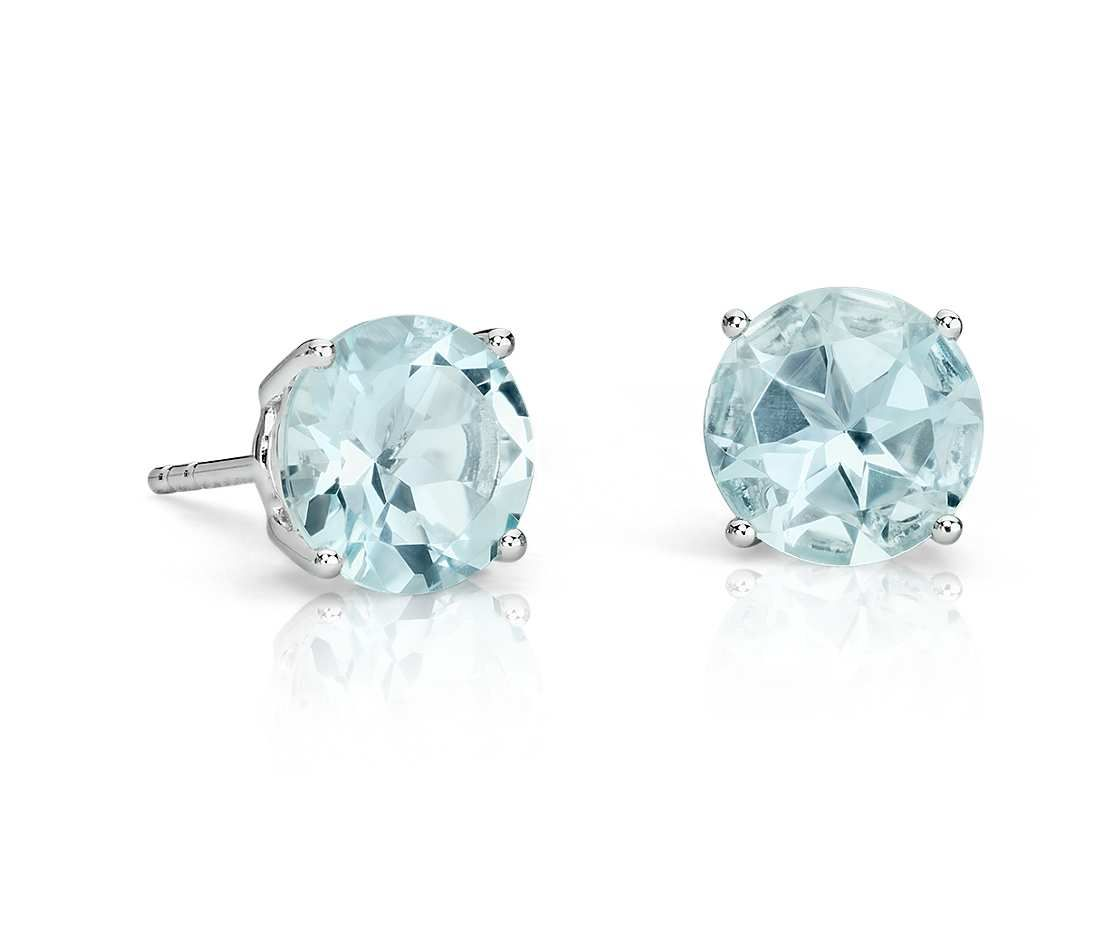 marine aquamarine gold diamonds in earrings with aqua stud white
