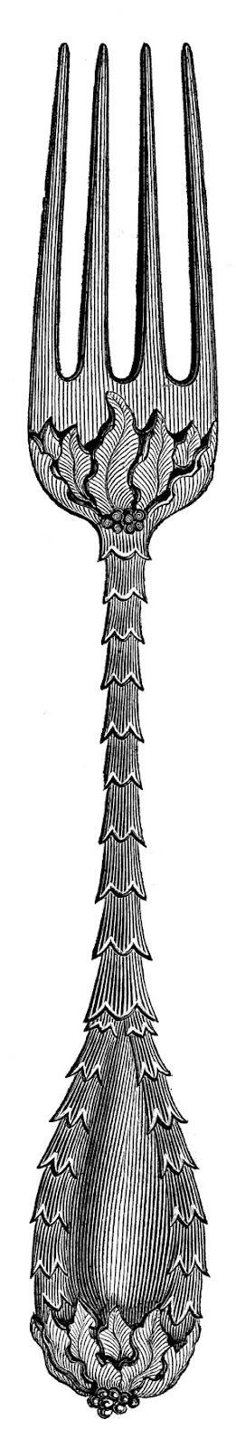Vintage Clip Art - Fancy Utensils - Fork Spoon Knife ...
