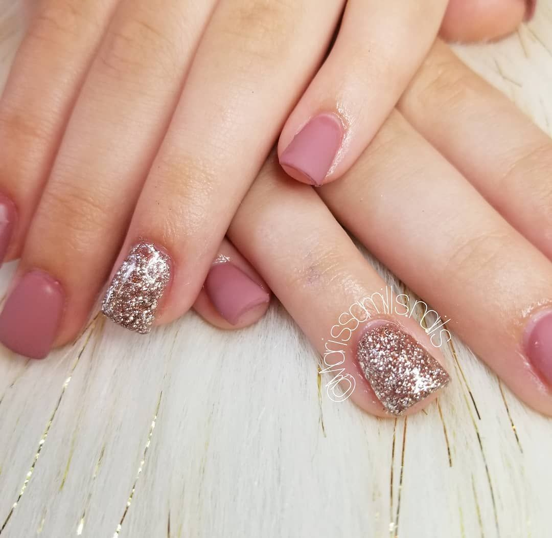 These matte mauve amd champagne glitter nails are what dreams are made of! Love it!! #nails #nailperfection #nailtechnician #nailtech #559nailtech #559nails #perfectnails #gel #gelnails #nailart #dowhatyoulove #learningbydoing #futurenailtech #nailsmakemehappy #nailedit #beautifulnails #goldnails #acrylicnails