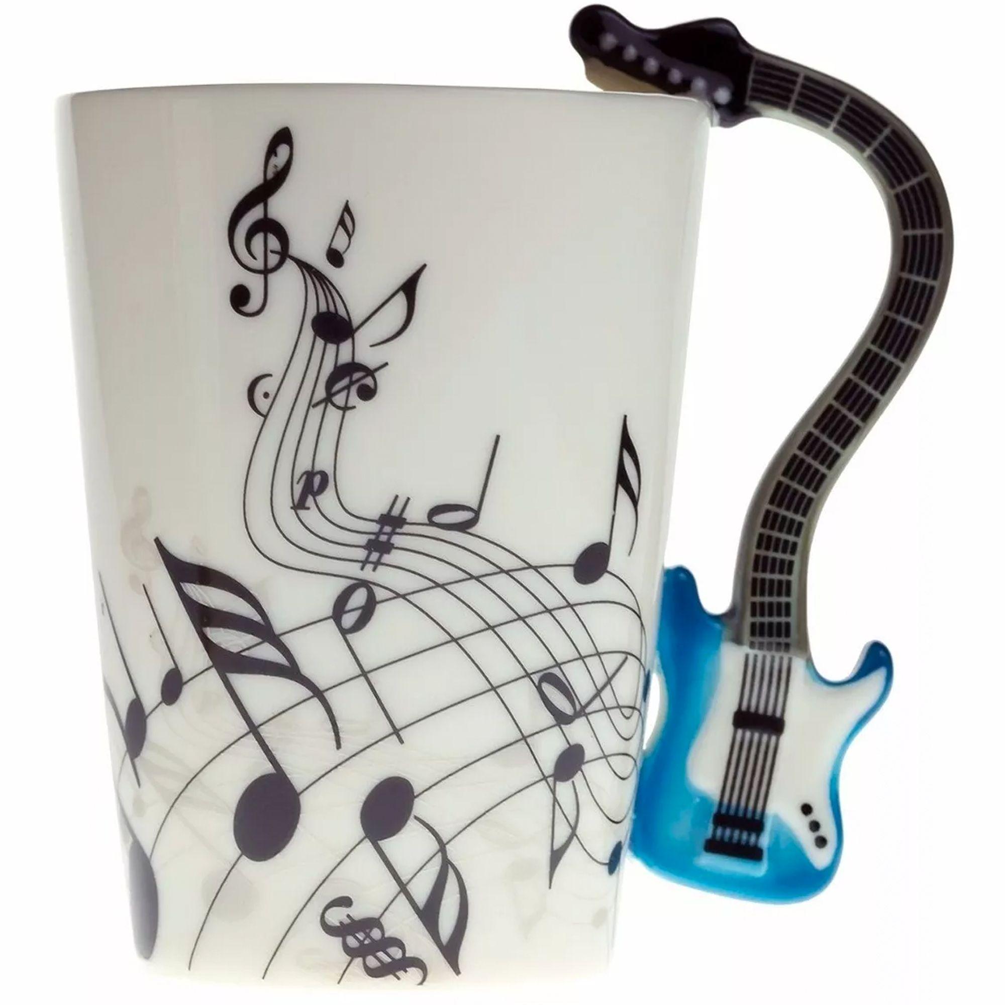 Té café taza musical con mango en forma de piano Taza de Porcelana Nota Negro Regalo