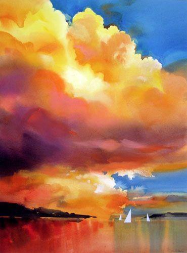 Sunset Sail Watercolor CloudsWatercolor Art