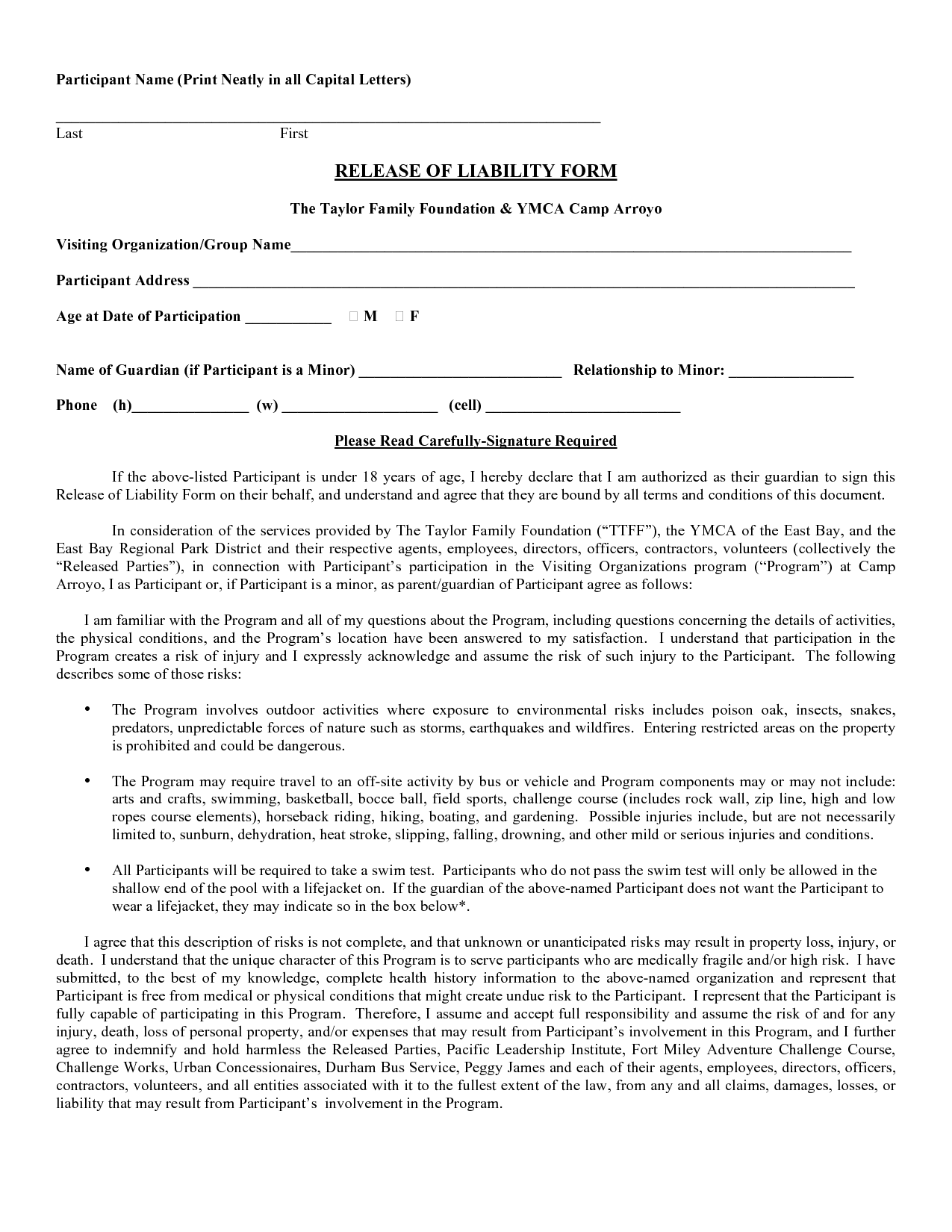 Printable Sample Liability Form Form  Generic Release Of Liability Form