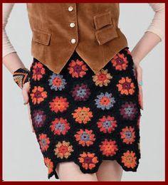 falda tejida a crochet talla 36-38, con rombos falda modular tejida a crochet OjoconelArte.cl  