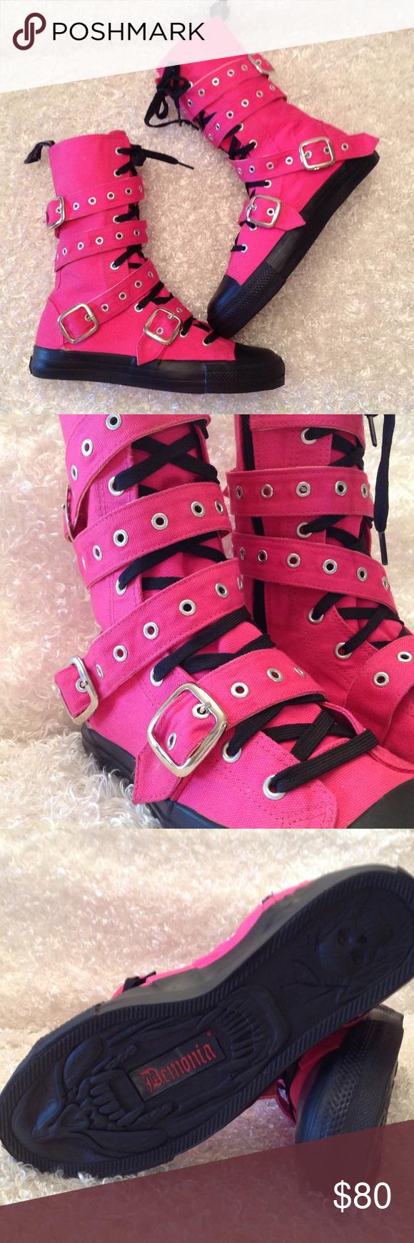 Demonia Deviant Pink Boots Aa Demonia Shoes Combat & Moto Boots