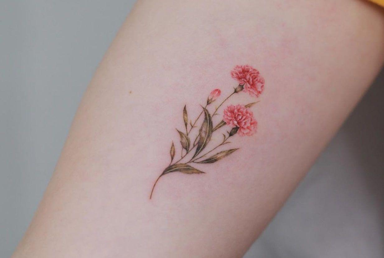 Carnation Tattoo In 2020 Carnation Tattoo Pink Flower Tattoos Small Tattoos