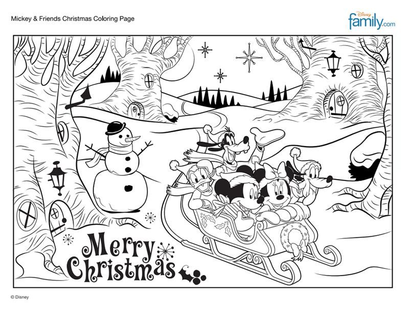 Aimless Moments Mickey Friends Christmas Coloring Page