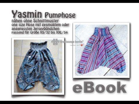 Yasmin Pumphose mit gesmoktem oder Jerseybündchen von firstloungeberlin - YouTube