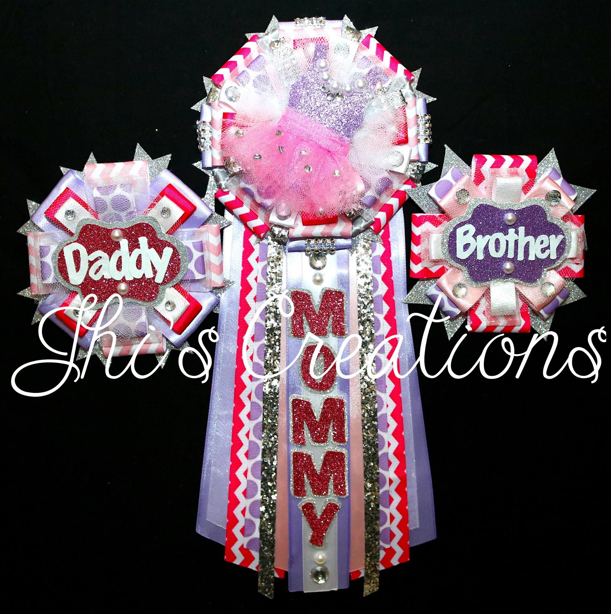 Tutu themed baby shower pin mum corsage set in hot pink lavender