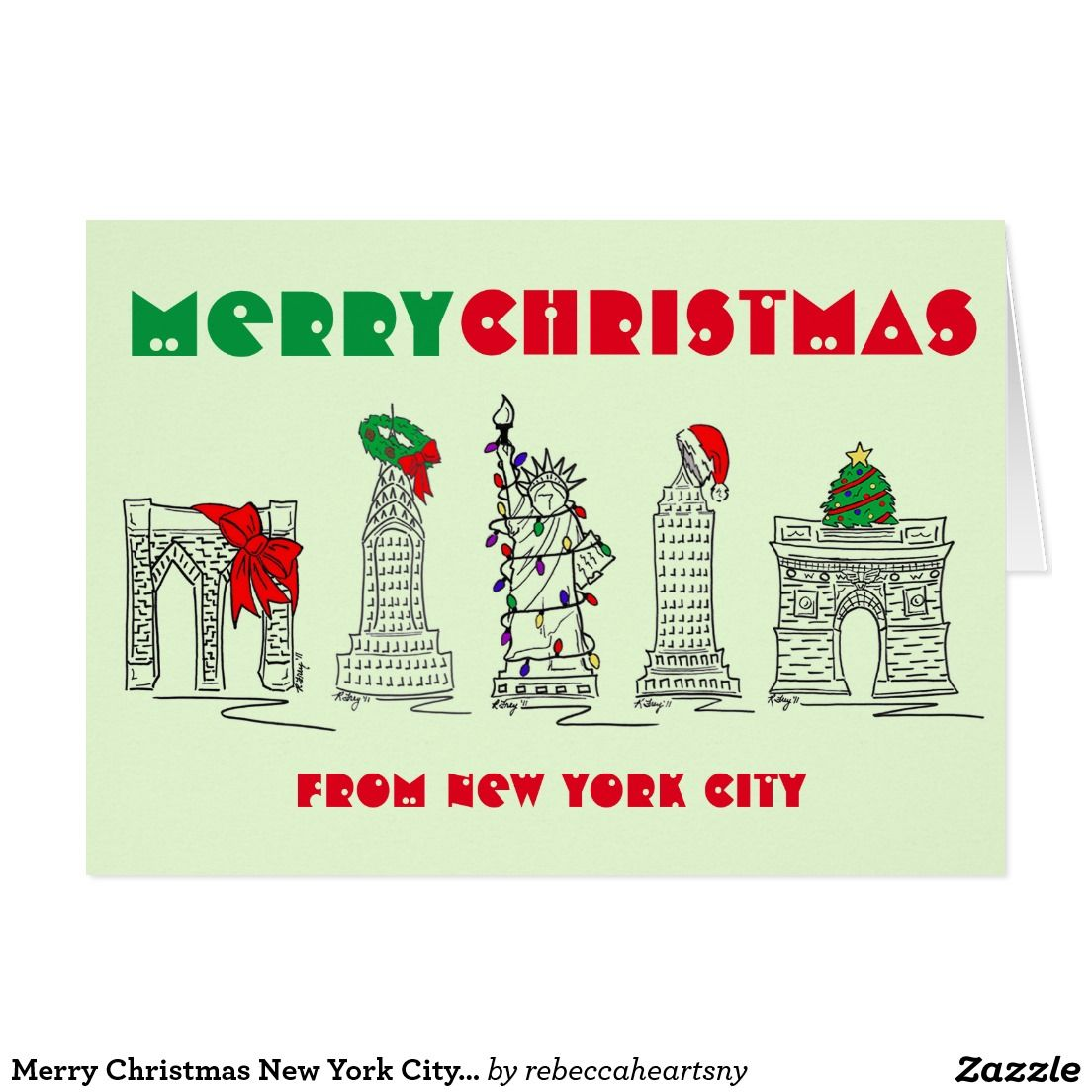 Merry Christmas New York City Landmarks Nyc Holiday Card Nyc