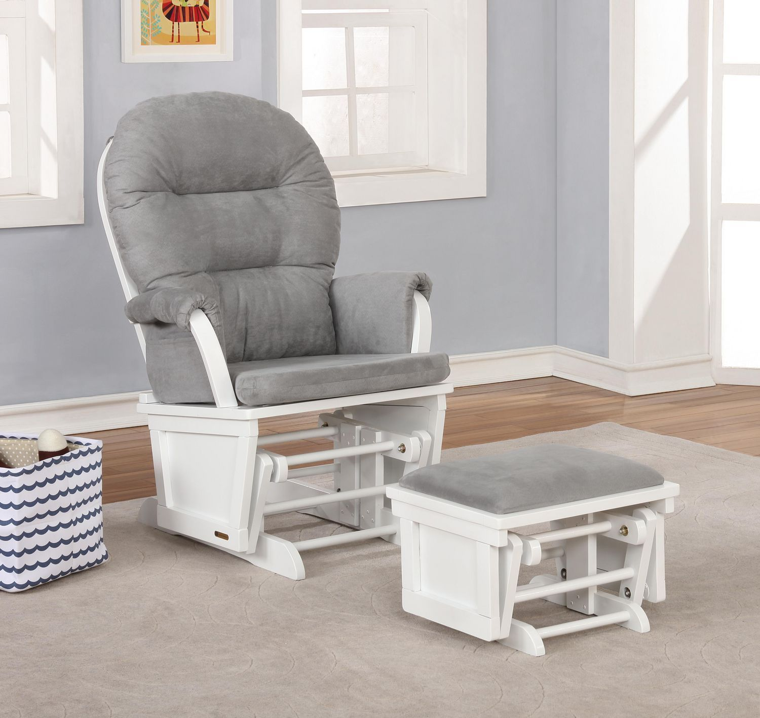 Lennox Glider and ottoman combo White / Grey Walmart