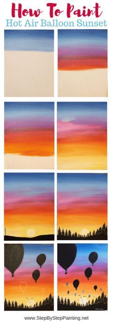 Wie Man Einen Sonnenuntergang In Acrylfarben Malt Heissluftballon