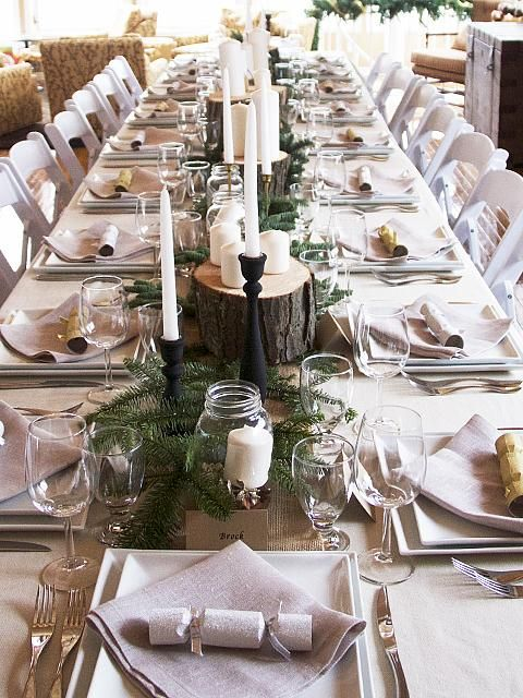 Beautiful simple table. Courtesy of Sarah Richardson. Kelsey's Woodland Tablescape