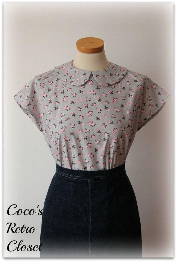 50s Style Button-back Blouse/Peter Pan Collar/Gray or Cream ...