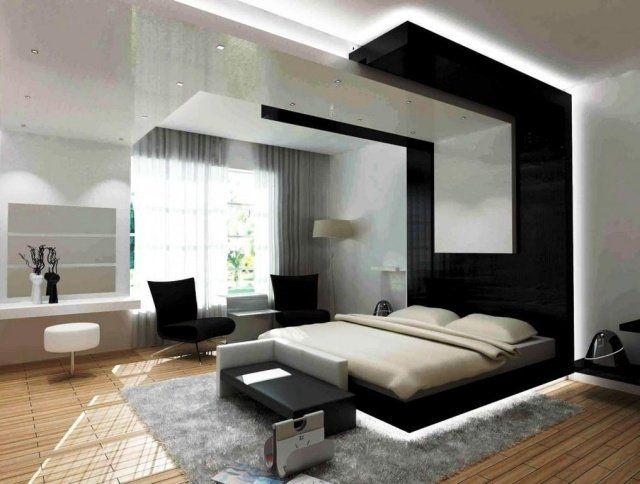 chambre à coucher ultramoderne en noir et blanc Chambres