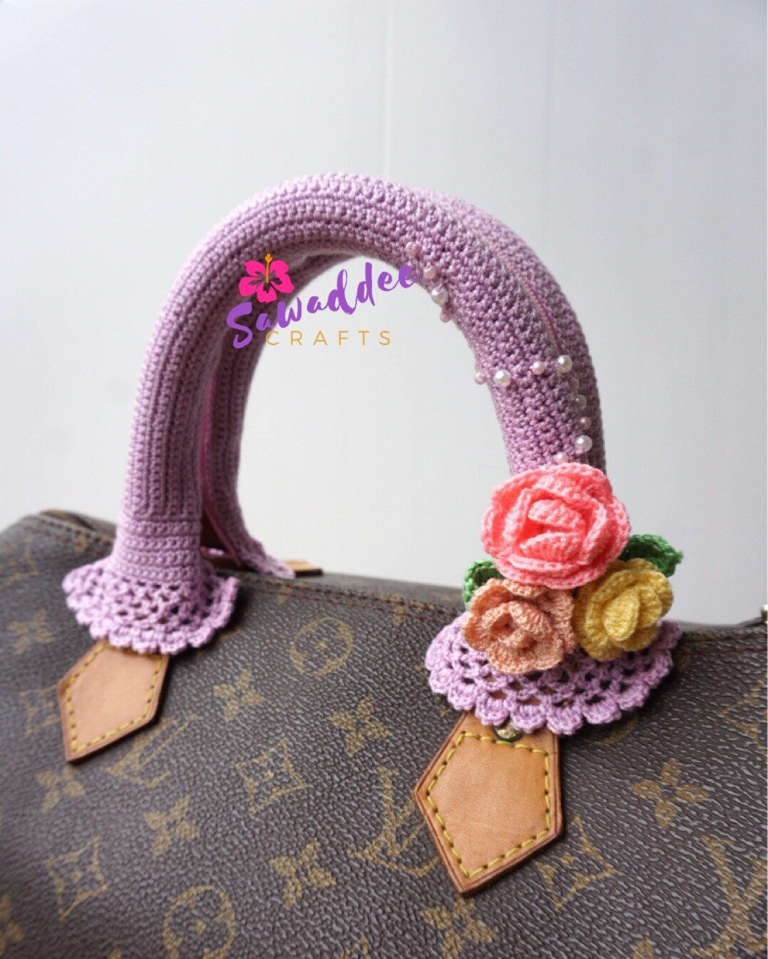 acc0302bac5a Excited to share this item from my  etsy shop  Free shipping  Beautiful  Handmade Crochet Bag Handle Cover   flowers for LV Louis Vuitton Speedy 25-30-35
