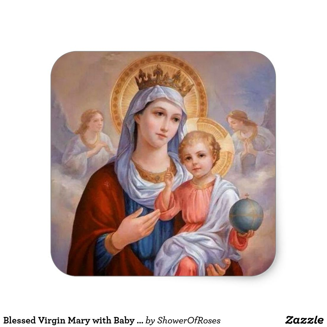 Blessed Virgin Mary with Baby Jesus Square Sticker