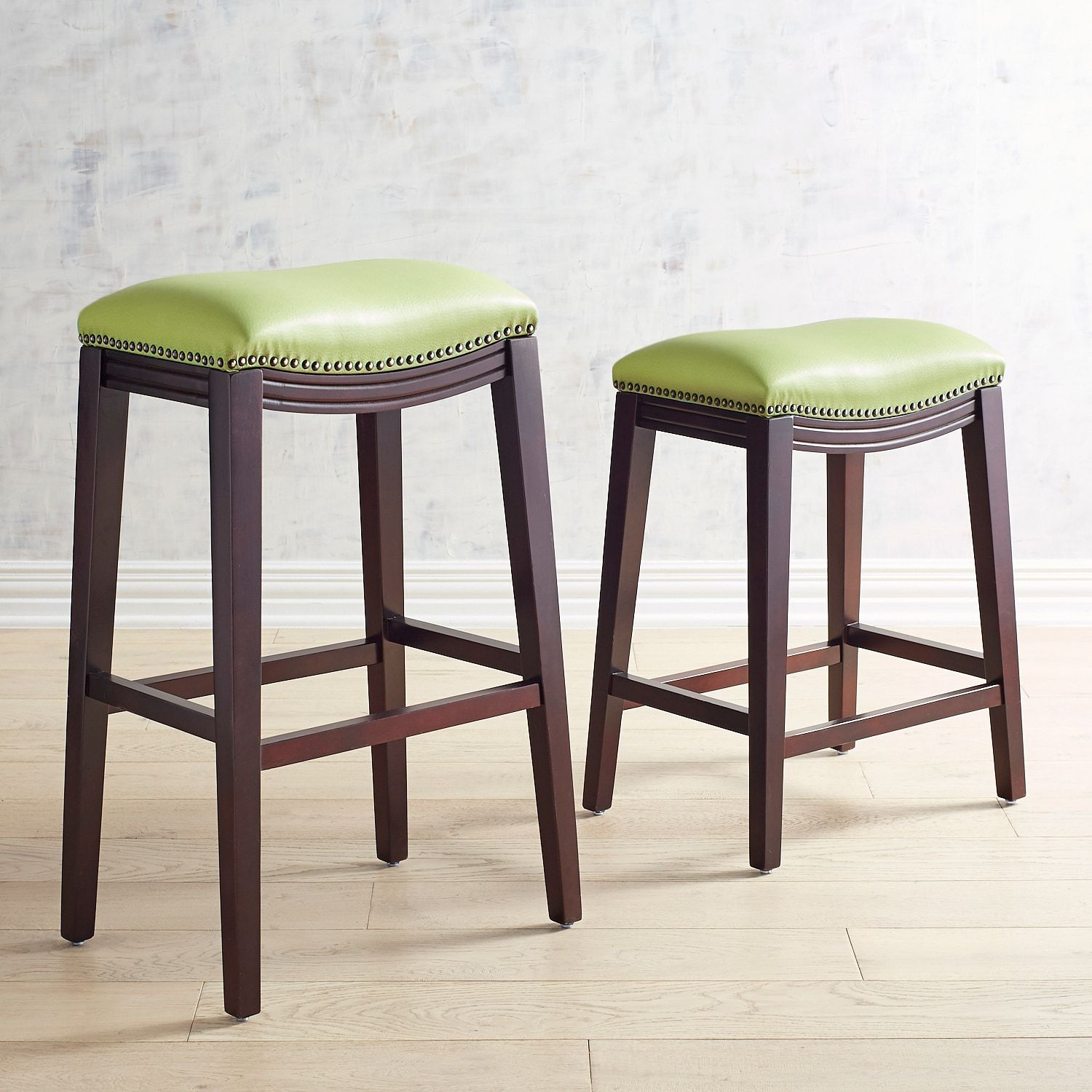 Halsted Fern Green Counter Bar Stool With Espresso Legs