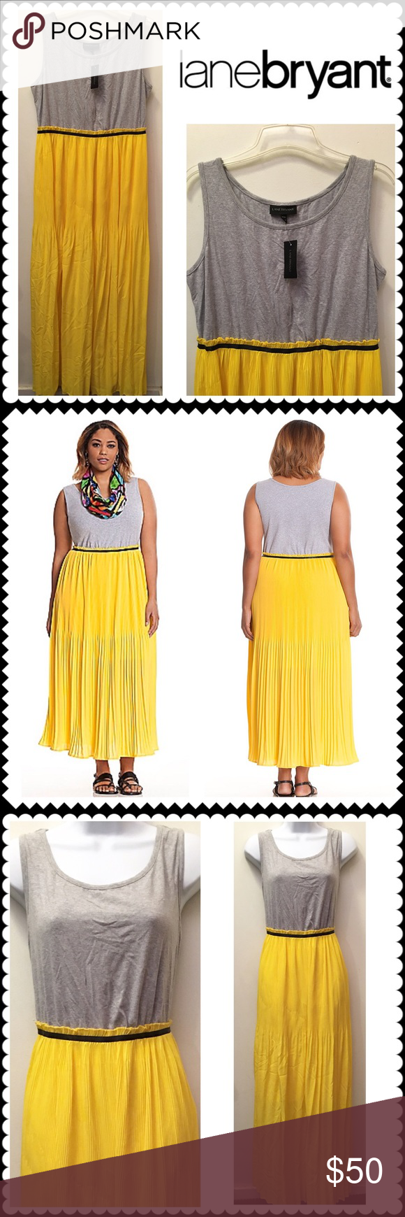 bd422f94707 Spotted while shopping on Poshmark  NWT Yellow Gray pleated maxi dress Lane  Bryant 16!  poshmark  fashion  shopping  style  Lane Bryant  Dresses    Skirts