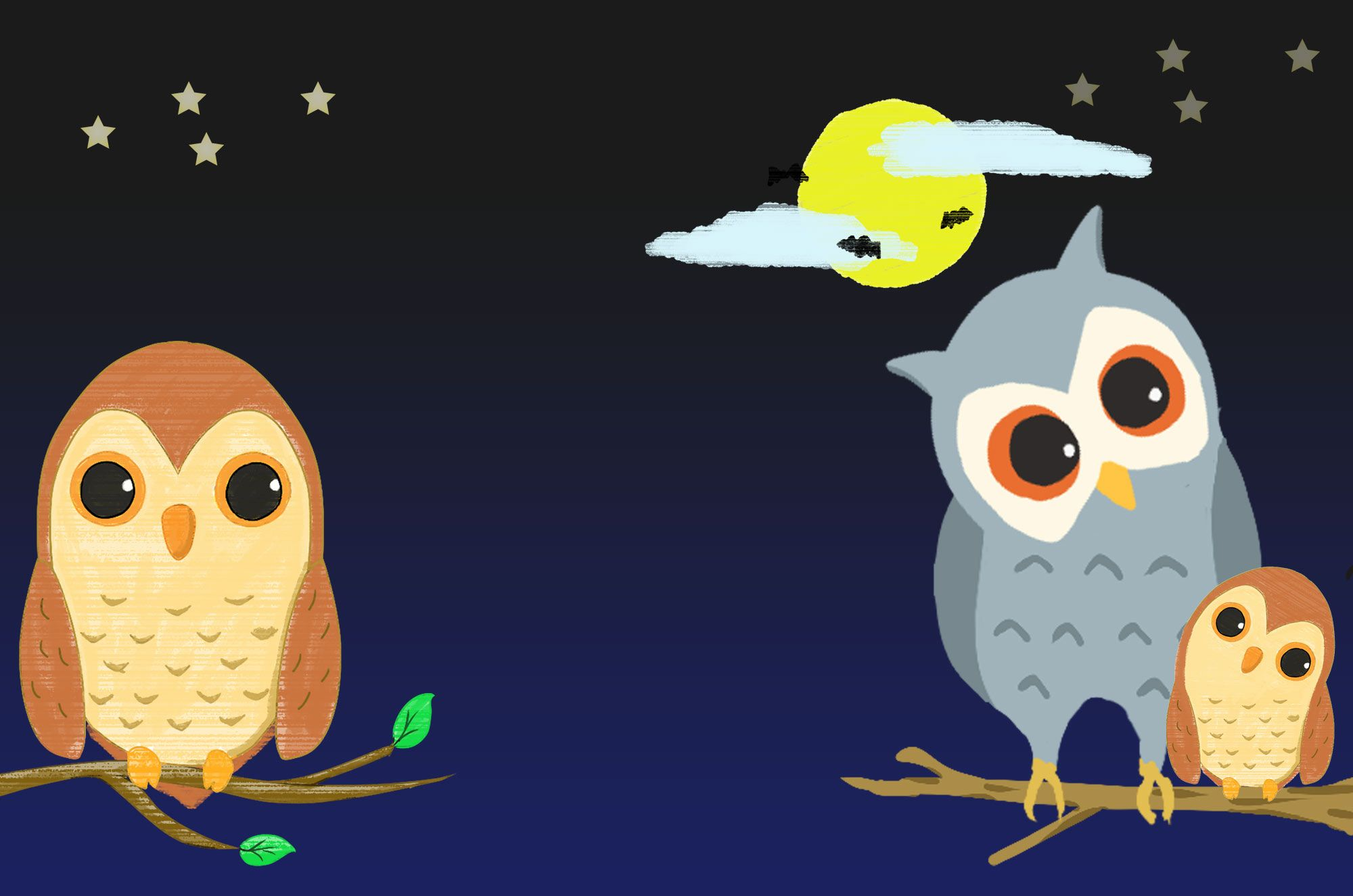 フクロウのイラスト無料素材集夜に樹の枝にとまる可愛いフクロウを